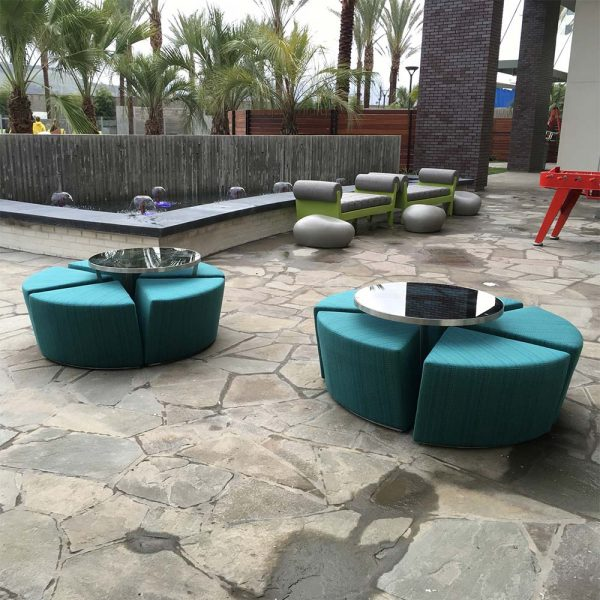 Jane Hamley Wells CAKE_CK01_modern indoor outdoor bistro café set of 5 upholstered stools with low table lifestyle_1