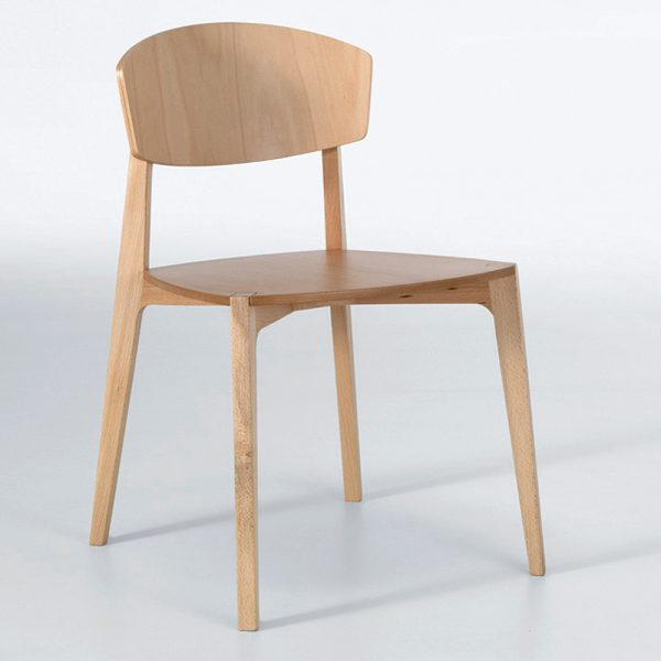 Jane Hamley Wells EKAY_002-243_A modern restaurant café stacking dining chair solid wood legs and seat