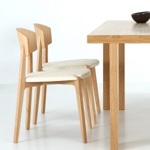 Jane Hamley Wells EKAY_002-244_A modern restaurant café stacking dining chair solid wood legs and upholstered seat