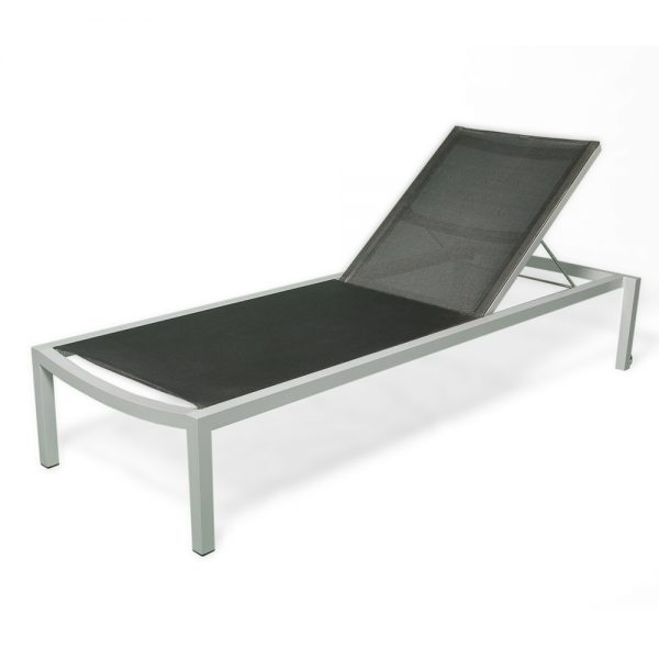 Jane Hamley Wells ELLA_130381_A modern stackable outdoor sunbed lounger mesh with powder-coated frame and wheels