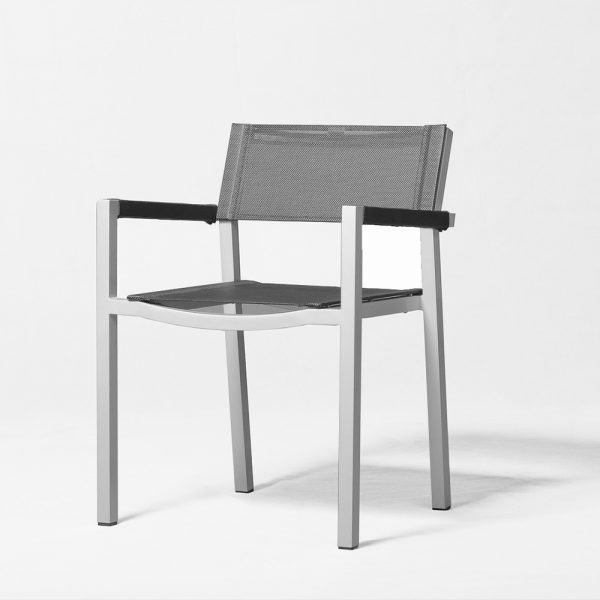 Jane Hamley Wells ELLA_150305_A modern stacking cafe armchair mesh seat and armcovers powder-coated metal frame