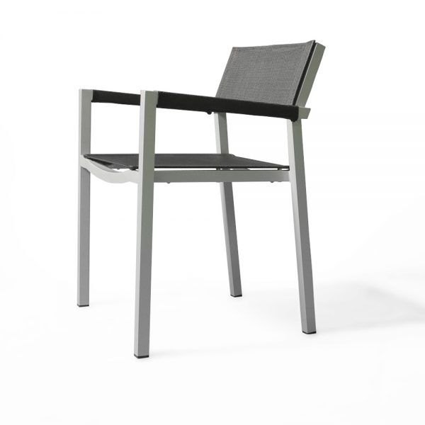 Jane Hamley Wells ELLA_150305_B modern stacking cafe armchair mesh seat and armcovers powder-coated metal frame