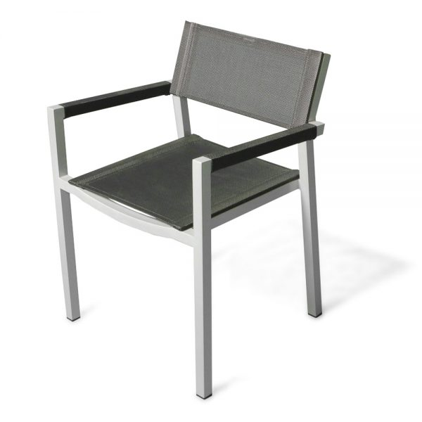 Jane Hamley Wells ELLA_150305_C modern stacking cafe armchair mesh seat and armcovers powder-coated metal frame