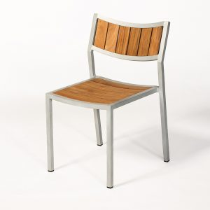 Jane Hamley Wells ELLA_150320_A modern stacking cafe side chair teak powder-coated aluminum frame