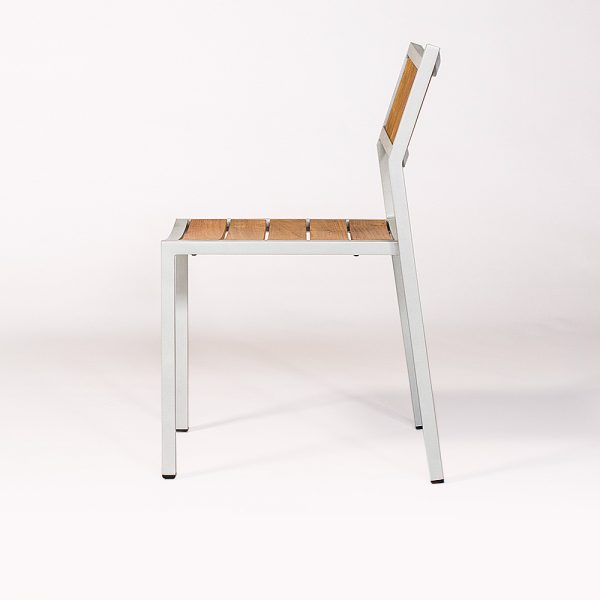 Jane Hamley Wells ELLA_150320_B modern stacking cafe side chair teak powder-coated aluminum frame