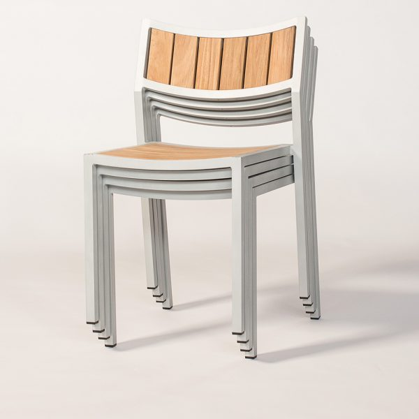 Jane Hamley Wells ELLA_150320_C modern stacking cafe side chair teak powder-coated aluminum frame