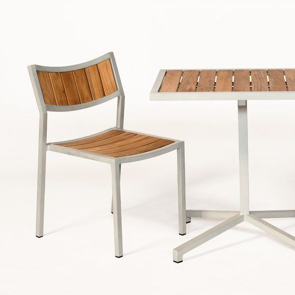 Jane Hamley Wells ELLA_150320_D modern stacking cafe side chair teak powder-coated aluminum frame