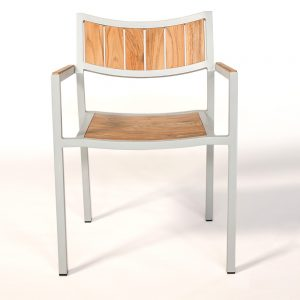 Jane Hamley Wells ELLA_150324_A modern outdoor stacking café armchair teak powder-coated aluminum frame