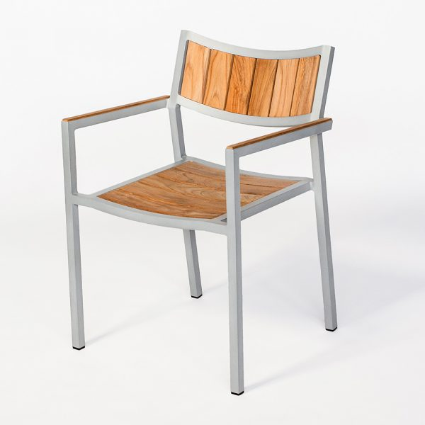 Jane Hamley Wells ELLA_150324_B modern outdoor stacking café armchair teak powder-coated aluminum frame