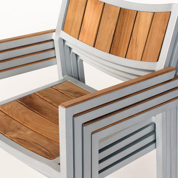Jane Hamley Wells ELLA_150324_C modern outdoor stacking café armchair teak powder-coated aluminum frame