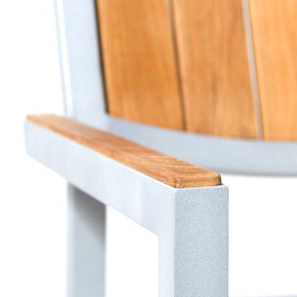 Jane Hamley Wells ELLA_150324_E modern outdoor stacking café armchair teak powder-coated aluminum frame