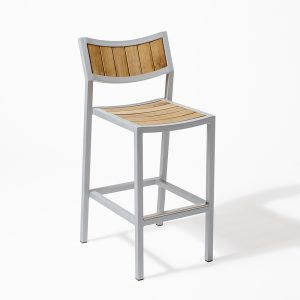 Jane Hamley Wells ELLA_150330_A outdoor restaurant bar stool teak seat and back powder-coated frame