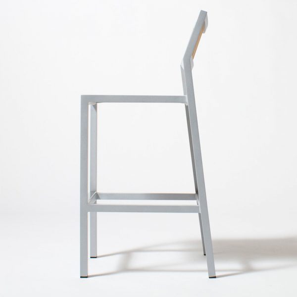 Jane Hamley Wells ELLA_150330_Boutdoor restaurant bar stool teak seat and back powder-coated frame