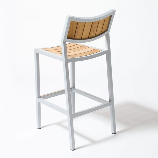 Jane Hamley Wells ELLA_150330_C outdoor restaurant bar stool teak seat and back powder-coated frame
