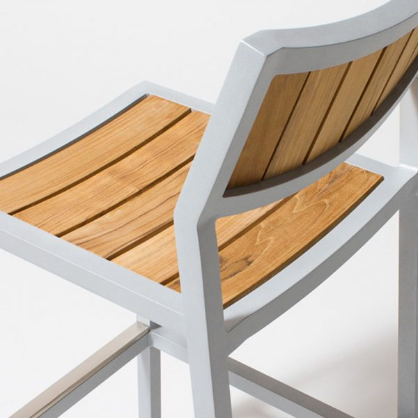 Jane Hamley Wells ELLA_150330_E outdoor restaurant bar stool teak seat and back powder-coated frame