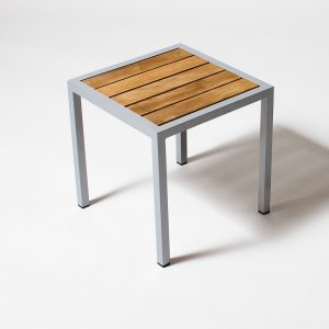 Jane Hamley Wells ELLA_150350_A outdoor square side table teak top powder-coated frame