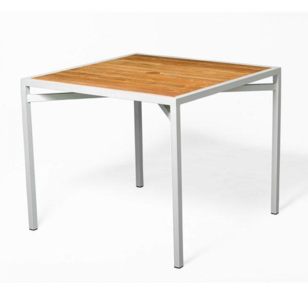 Jane Hamley Wells ELLA_150352_A outdoor square dining table teak top umbrella hole powder-coated frame