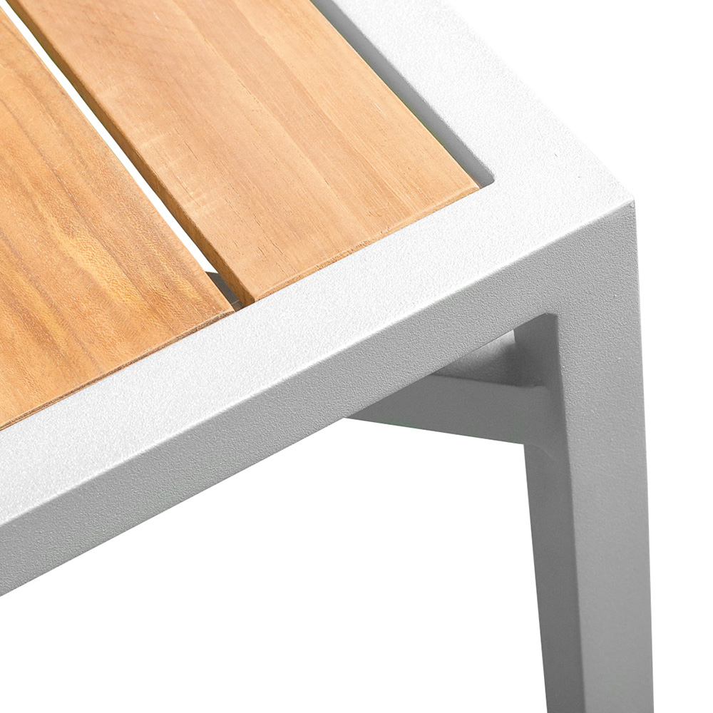Jane Hamley Wells ELLA_150352 outdoor square dining table teak top umbrella hole powder-coated frame detail_1