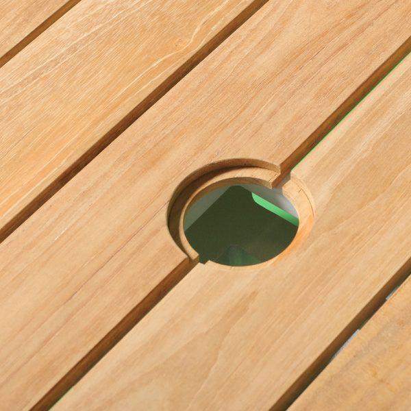 Jane Hamley Wells ELLA_150352 outdoor square dining table teak top umbrella hole powder-coated frame detail_2