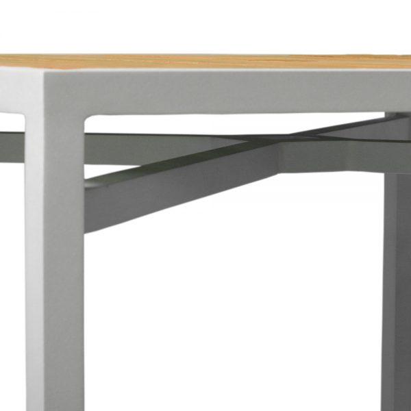 Jane Hamley Wells ELLA_150352 outdoor square dining table teak top umbrella hole powder-coated frame detail_3