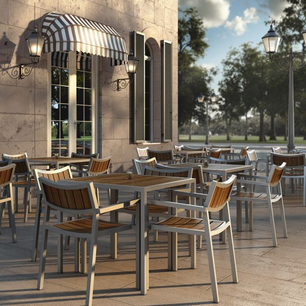 Jane Hamley Wells ELLA_150352 outdoor square dining table teak top umbrella hole powder-coated frame lifestyle_1