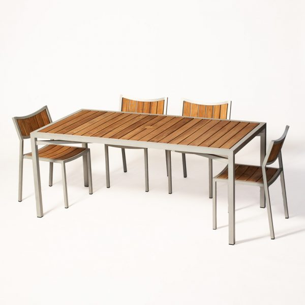 Jane Hamley Wells ELLA_150354_150320 outdoor rectangle dining table with chairs teak top umbrella hole powder-coated frame group_1