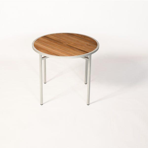 Jane Hamley Wells ELLA_150355_A outdoor round dining table teak top umbrella hole powder-coated frame