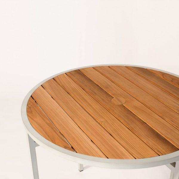 Jane Hamley Wells ELLA_150355 outdoor round dining table teak top umbrella hole powder-coated frame detail_1