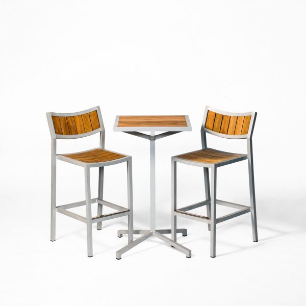 Jane Hamley Wells ELLA_150356_150330 modern outdoor square high bar table and stools teak top powder-coated frame