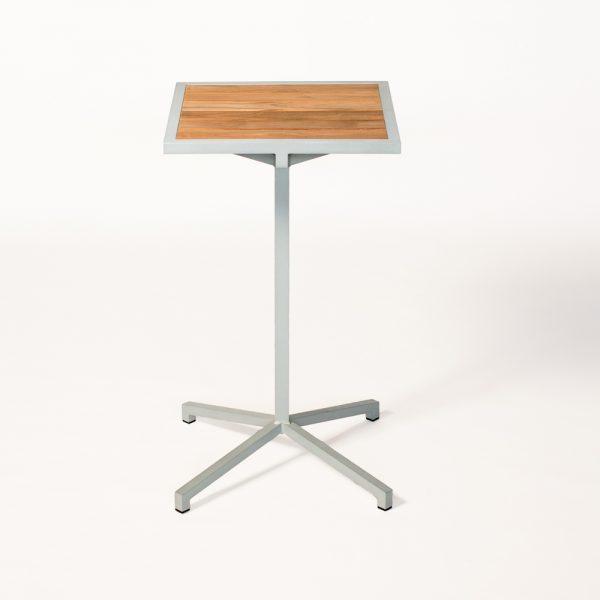Jane Hamley Wells ELLA_150356_A modern outdoor square high bar table teak top powder-coated frame
