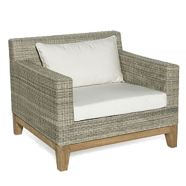 Jane Hamley Wells EYESEA_DOVRLC01_A modern luxury all-weather wicker rattan and teak lounge chair with upholstered cushions