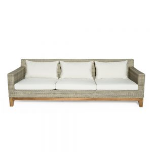 Jane Hamley Wells EYESEA_DOVRLC03_A modern luxury all-weather wicker rattan and teak 3-Person lounge sofa with upholstered seat cushions back pillows