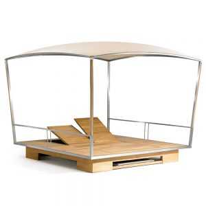 Jane Hamley Wells GAZE_GZ49_A movable modern outdoor sun solar shade gazebo with table sunbeds teak stainless steel