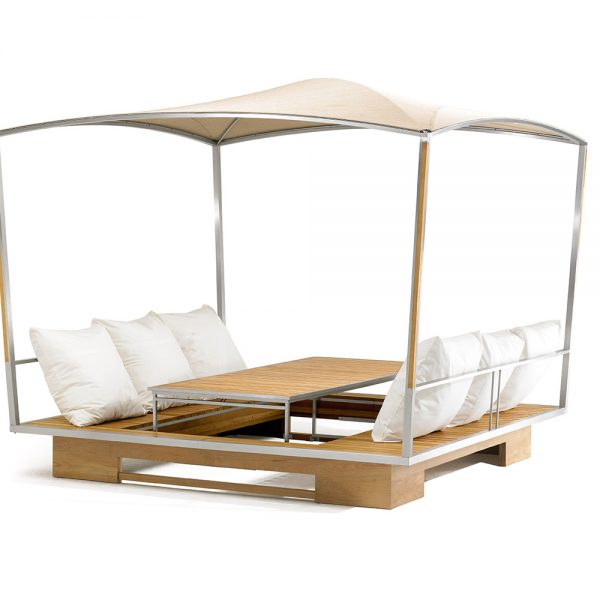Jane Hamley Wells GAZE_GZ49_B movable modern outdoor sun solar shade gazebo with table sunbeds teak stainless steel