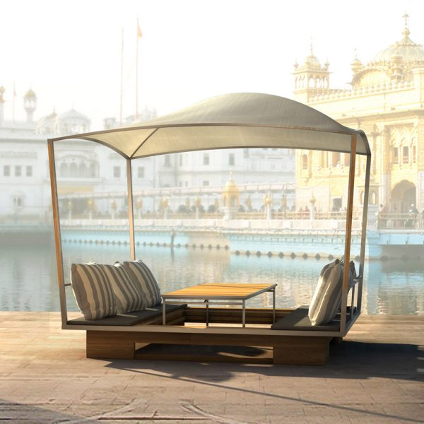 Jane Hamley Wells GAZE_GZ49 movable modern outdoor sun solar shade gazebo with table teak stainless steel lifestyle_1