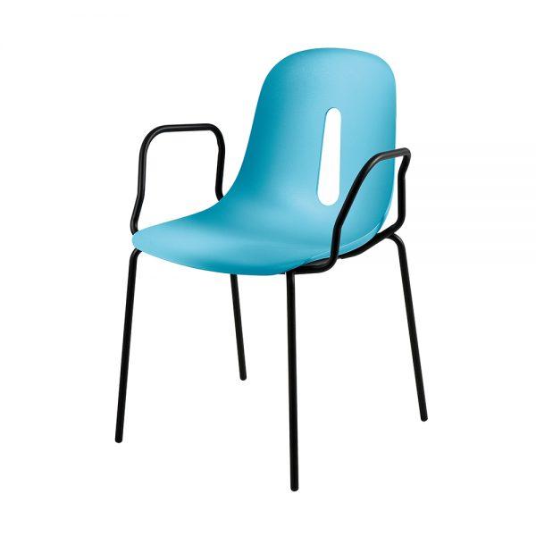 Jane Hamley Wells GOTHAM-P_A modern café armchair molded polyurethane seat on steel legs