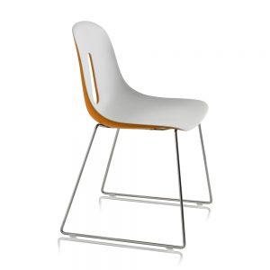 Jane Hamley Wells GOTHAM-SL_A modern café dining chair molded polyurethane seat on steel sled base