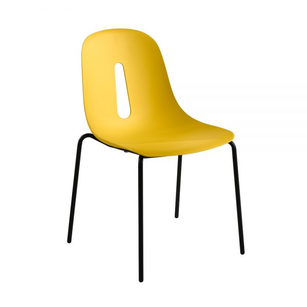 Jane Hamley Wells GOTHAM-S_A modern stacking cafe dining chair molded polyurethane seat on steel legs
