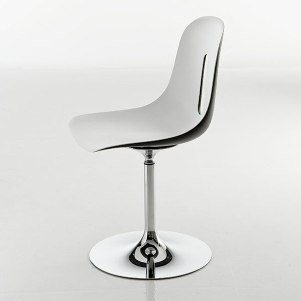Jane Hamley Wells GOTHAM-T_A modern swivel chair molded polyurethane seat on chrome steel pedestal base