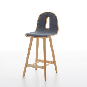 Jane Hamley Wells GOTHAMWOODY_SG-65-I_A modern counter stool bentwood upholstered seat on ash wood legs
