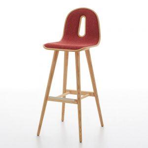 Jane Hamley Wells GOTHAMWOODY_SG-80-I_A restaurant bar stool bentwood upholstered seat on ash wood legs