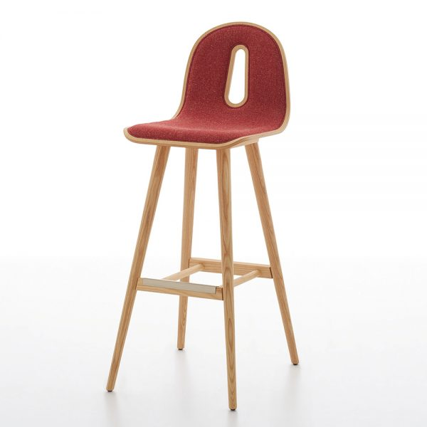 Jane Hamley Wells GOTHAMWOODY_SG-80-I_A restaurant bar stool bentwood upholstered seat on ash wood legs