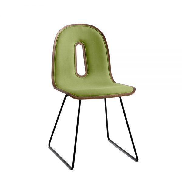 Jane Hamley Wells GOTHAMWOODY_SL-I_A modern guest seating upholstered molded walnut veneer chair on steel sled base
