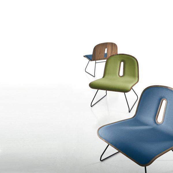 Jane Hamley Wells GOTHAMWOODY_SL-I modern guest seating uphostlered molded walnut veneer chair on steel sled base group_1