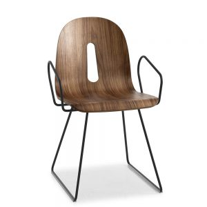 Jane Hamley Wells GOTHAMWOODY_SL-P_A modern café dining armchair molded walnut veneer seat on steel sled base