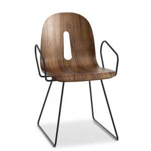 Jane Hamley Wells GOTHAMWOODY_SL-P_A modern café dining armchair molded walnut veneer seat on steel sled base