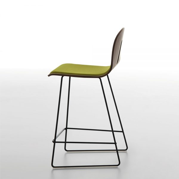 Jane Hamley Wells GOTHAMWOODY_SL-SG-65-I_A modern counter stool bentwood upholstered ash seat painted steel sled base