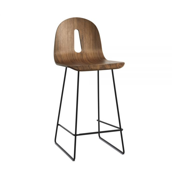 Jane Hamley Wells GOTHAMWOODY_SL-SG-65_A modern counter stool bentwood ash seat painted steel sled base
