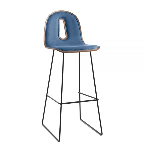 Jane Hamley Wells GOTHAMWOODY_SL-SG-80-I_A restaurant bar stool bentwood upholstered ash seat painted steel sled base