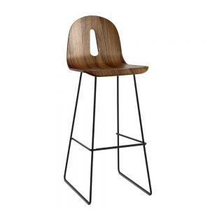 Jane Hamley Wells GOTHAMWOODY_SL-SG-80_A restaurant bar stool bentwood ash seat painted steel sled base